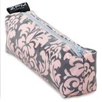 Damask Pink/Grey Block Zip Bag/Pencil Case