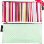 Bright Multi Stripe/Green with White Spots Cosmetics Purse/Pencil Case
