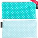 Pin Dot Teal/Sky Blue with white spots Cosmetics Purse/Pencil Case